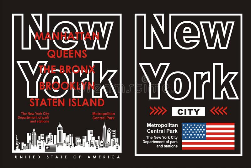 02 tipografia New York City, vetor ilustração stock