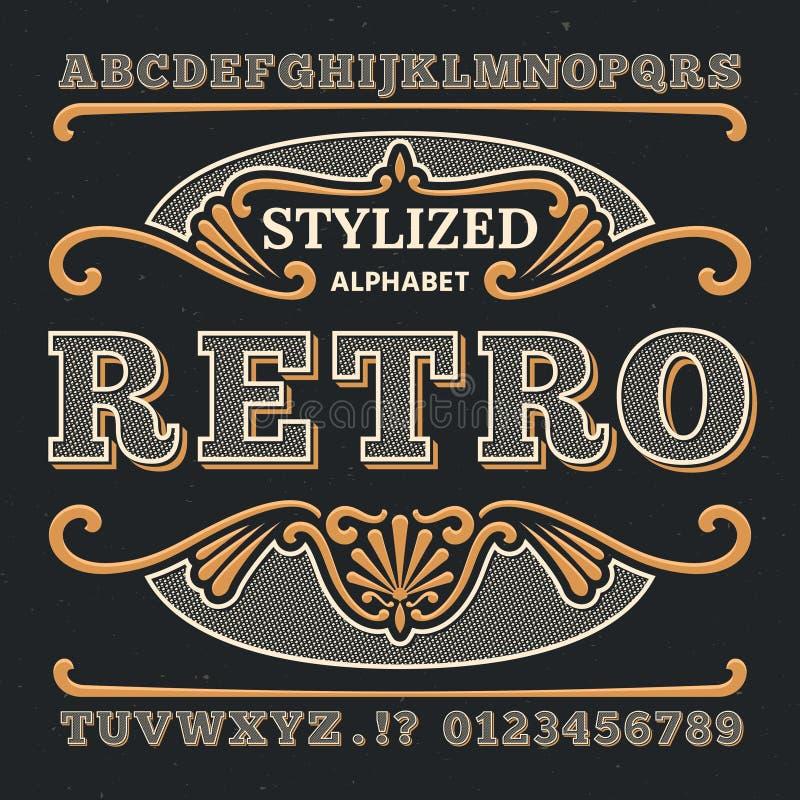 Tipografia occidentale d'annata 3d Retro tipo gotico di vettore Retro numeri e lettere illustrazione di stock