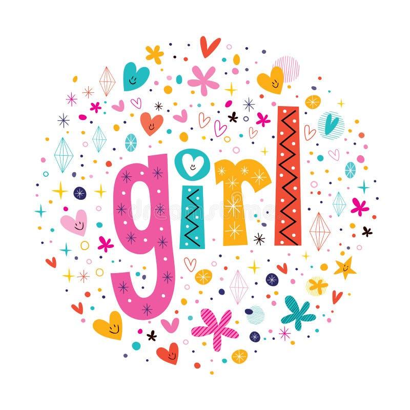 Tipografia retro da menina da palavra que rotula o texto decorativo ilustração royalty free
