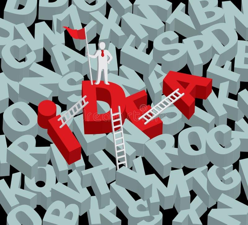 Tipografia rossa di parola di idee 3d illustrazione vettoriale