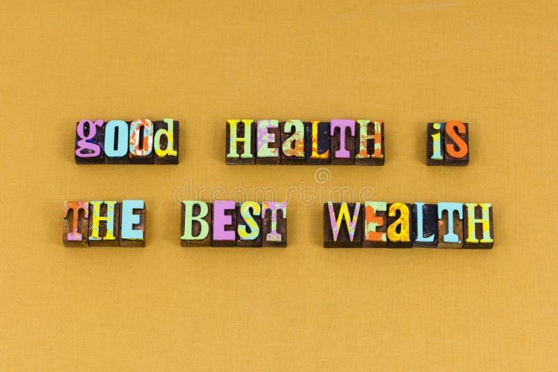 Tipografia sana di vita di ricchezza di buona salute immagini stock