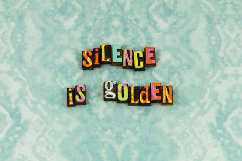 Tipografia segura da confiança dourada quieta do silêncio fotos de stock