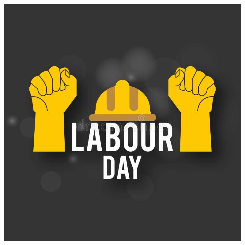 Tipografia semplice con le mani dei lavoratori, casco di festa del lavoro felice sopra illustrazione di stock