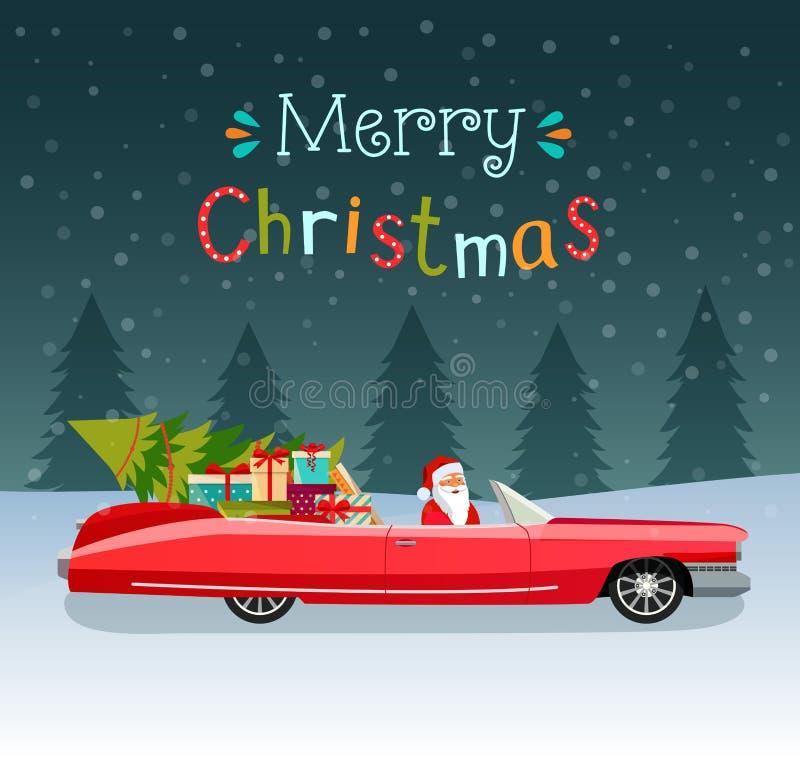 Tipografia stilizzata di Buon Natale Cabriolet rosso d'annata con il Babbo Natale, l'albero di Natale ed i contenitori di regalo illustrazione di stock