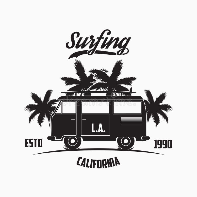 Tipografia surfando de Califórnia, Los Angeles com ônibus, palmeiras e prancha da ressaca Os gráficos para o projeto vestem-se, t ilustração royalty free