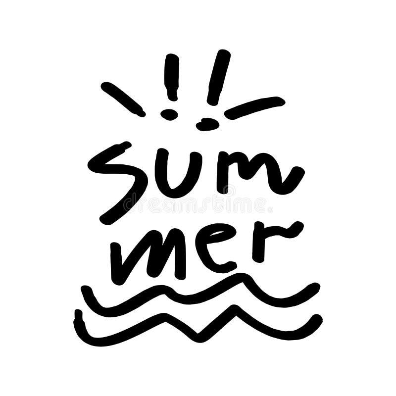 Tipografia tirada mão do verão que rotula o estilo feio ilustração royalty free