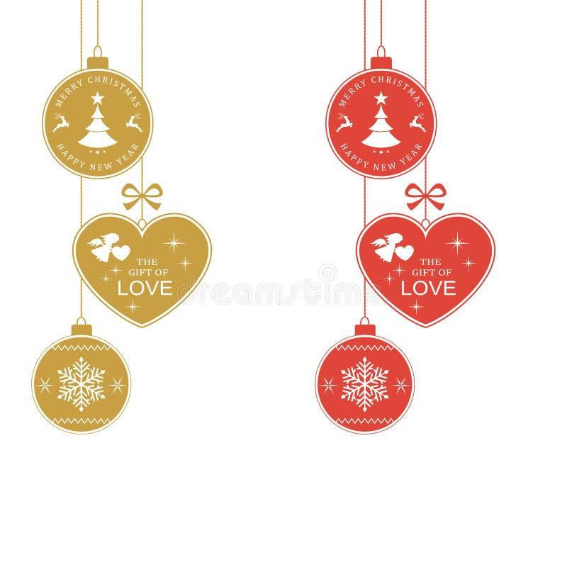 Tipografia vermelha de prata do Feliz Natal ilustração royalty free