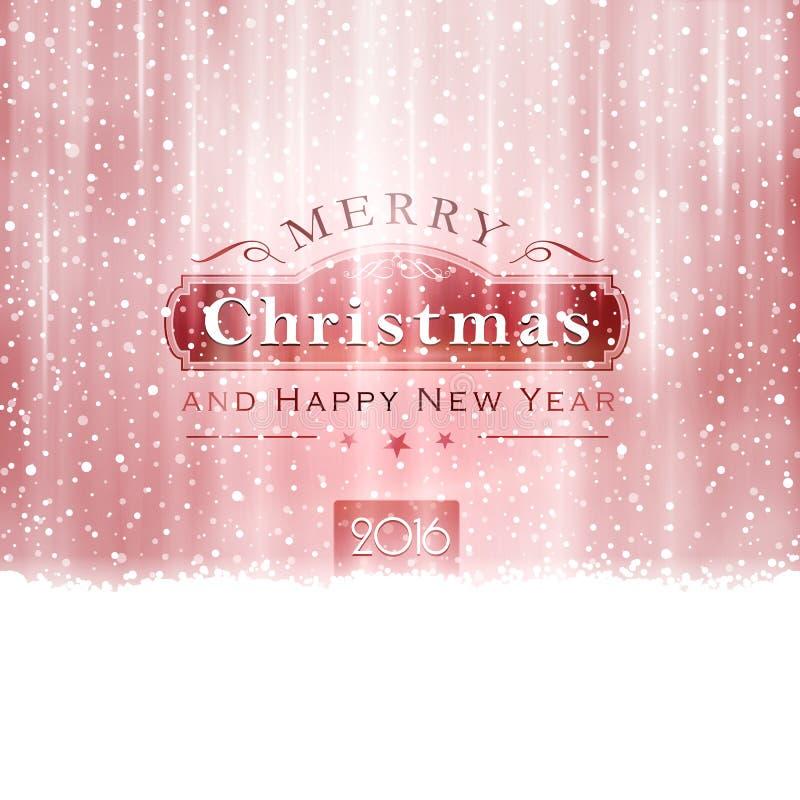 Tipografia vermelha de prata do Feliz Natal ilustração do vetor