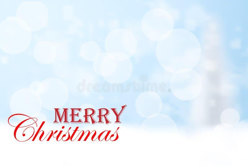 Tipografia vermelha do Feliz Natal e fundo azul do bokeh ilustração do vetor