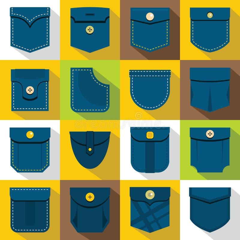 Tipos ícones ajustados, estilo liso do bolso ilustração royalty free