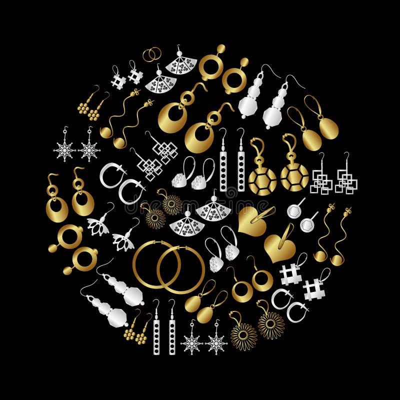 Tipos ícones dos brincos das senhoras do ouro e da prata ajustados ilustração royalty free