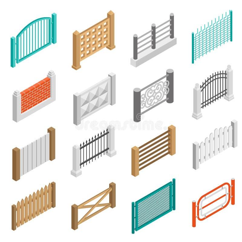 Tipos colección isométrica de las cercas de los iconos de los elementos stock de ilustración