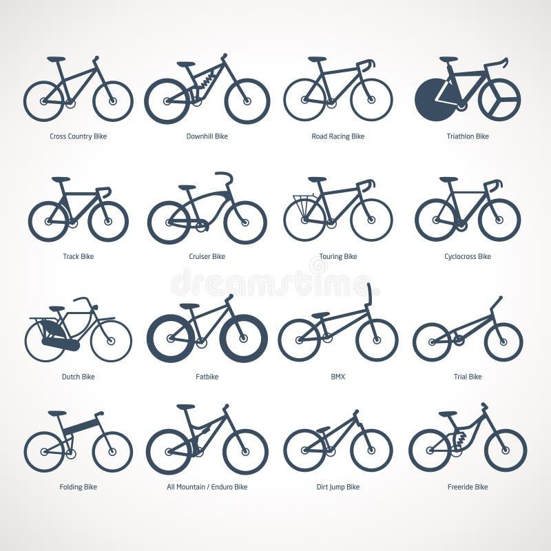 Tipos da bicicleta ilustração royalty free