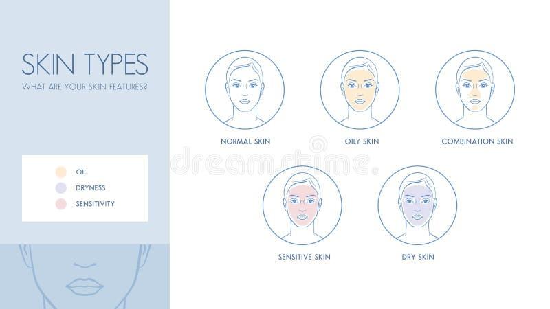 Tipos da pele ilustração do vetor