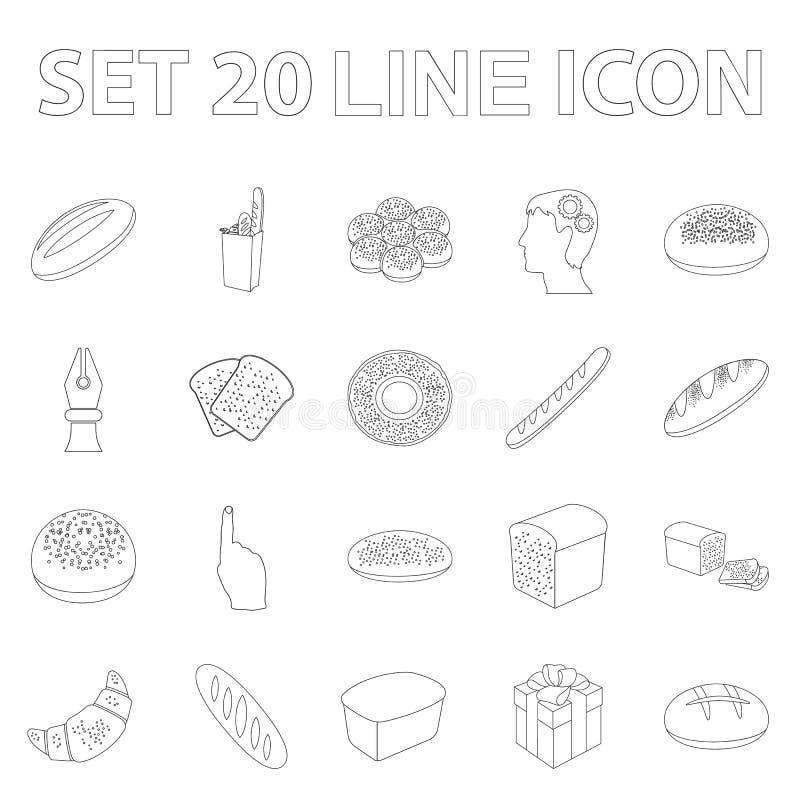 Tipos de ícones do esboço do pão na coleção do grupo para o projeto Ilustração da Web do estoque do símbolo do vetor dos produtos ilustração do vetor
