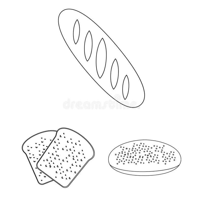 Tipos de ícones do esboço do pão na coleção do grupo para o projeto Ilustração da Web do estoque do símbolo do vetor dos produtos ilustração royalty free