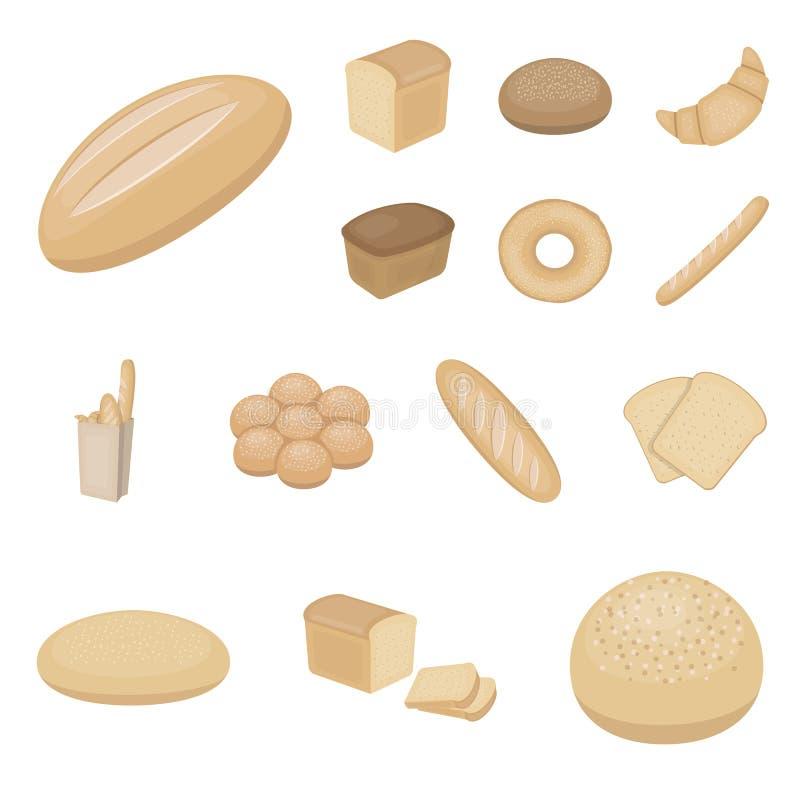 Tipos de ícones dos desenhos animados do pão na coleção do grupo para o projeto Ilustração da Web do estoque do símbolo do vetor  ilustração stock