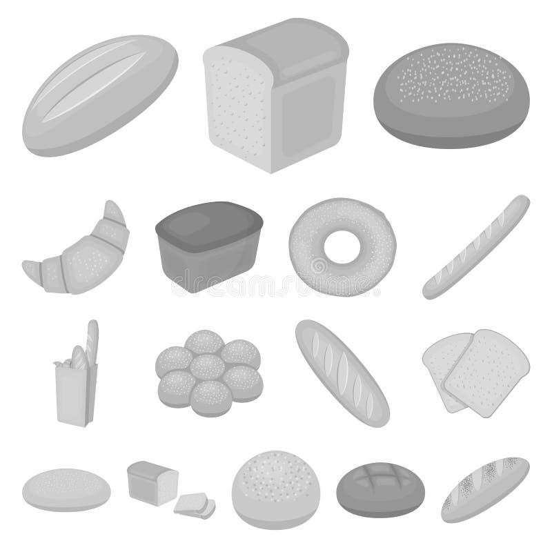 Tipos de ícones monocromáticos do pão na coleção do grupo para o projeto Ilustração da Web do estoque do símbolo do vetor dos pro ilustração royalty free