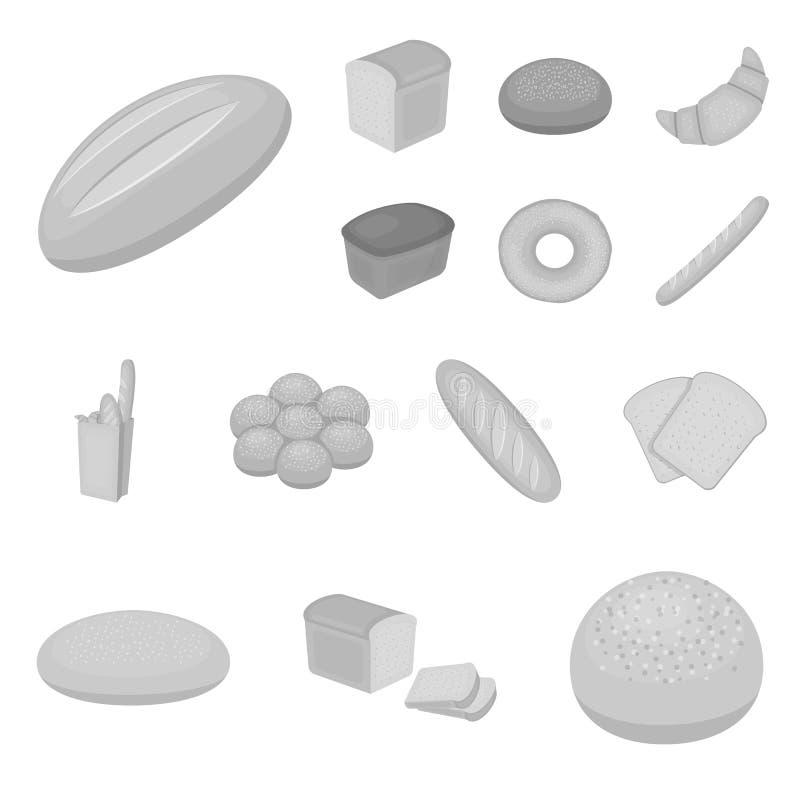 Tipos de ícones monocromáticos do pão na coleção do grupo para o projeto Ilustração da Web do estoque do símbolo do vetor dos pro ilustração do vetor