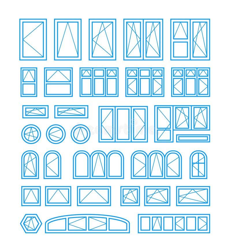 Tipos de abertura e janelas e portas de fechamento Ilustração do vetor ilustração stock