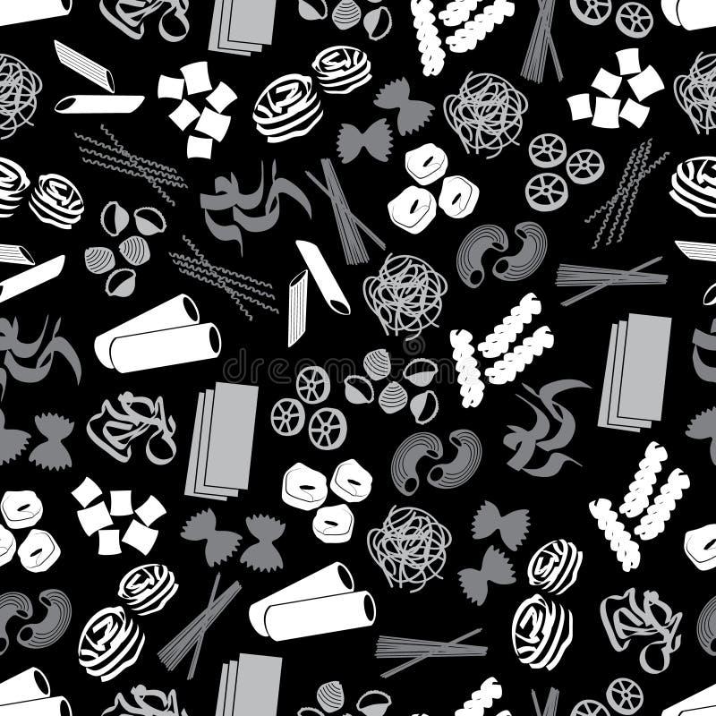 Tipos de alimento da massa pretos e teste padrão cinzento eps10 ilustração royalty free