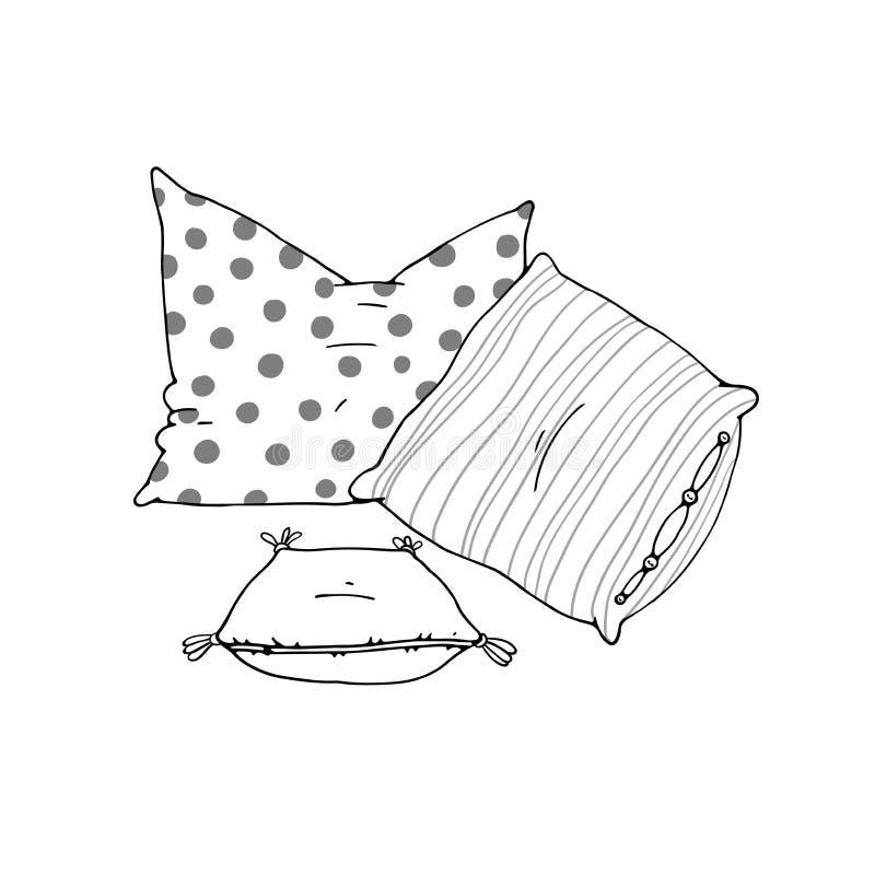 Tipos de almohadas el dormir fijadas ilustración del vector