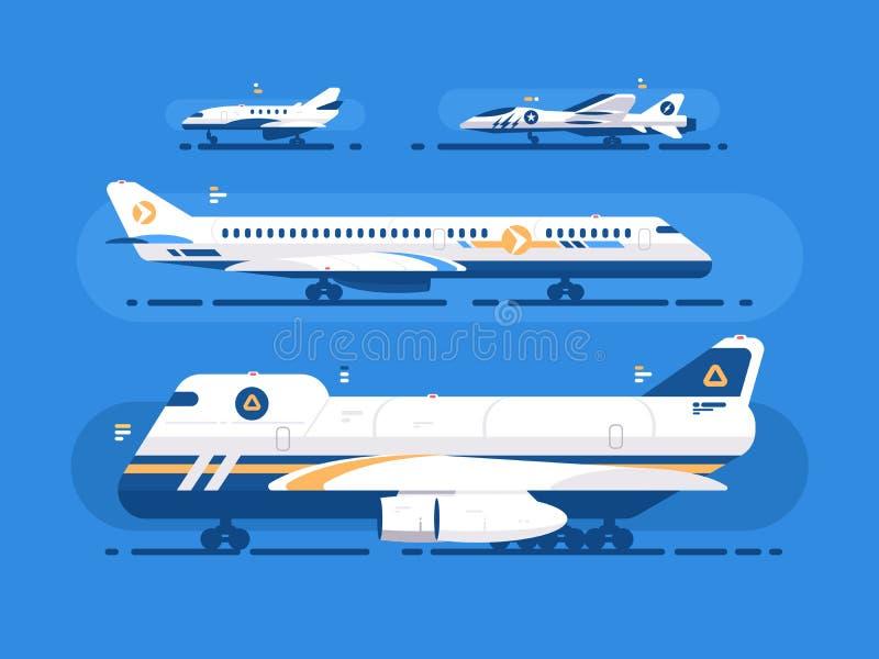 Tipos de aviones fijados stock de ilustración