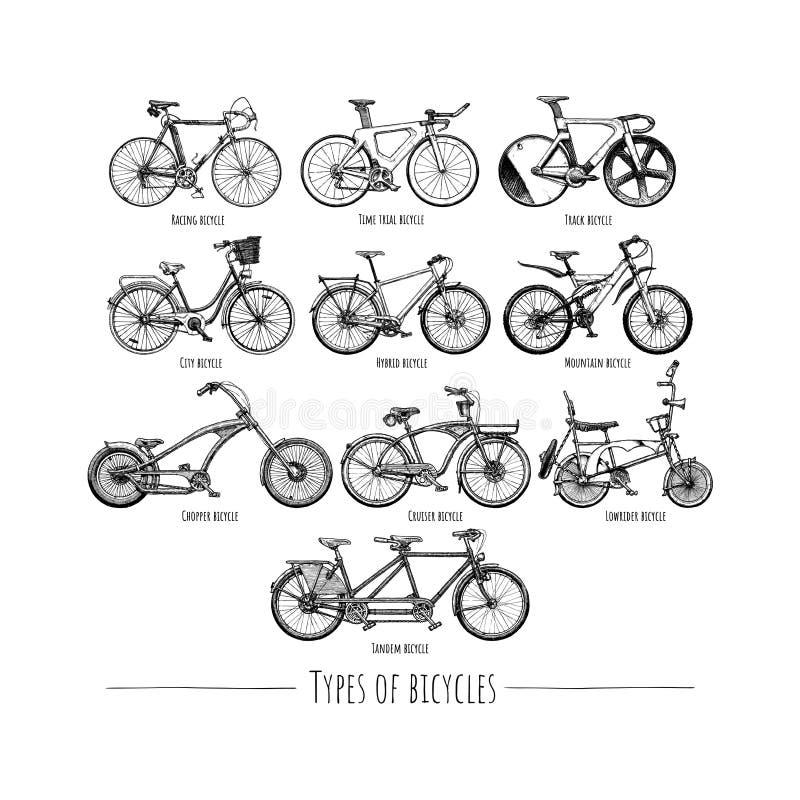 Tipos de bicicletas ilustração stock