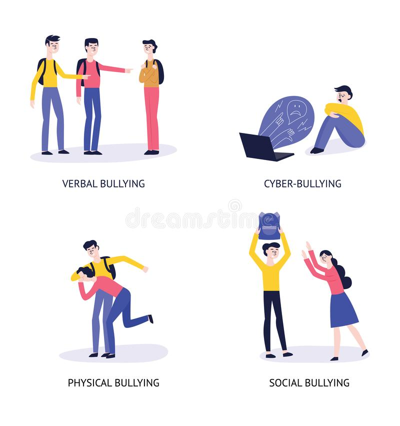 4 tipos de bulling: verbal, cibernético, físico, social stock de ilustración