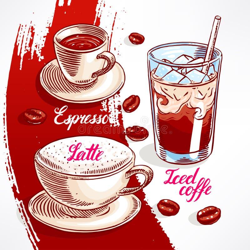 Tipos de café - 2 ilustración del vector