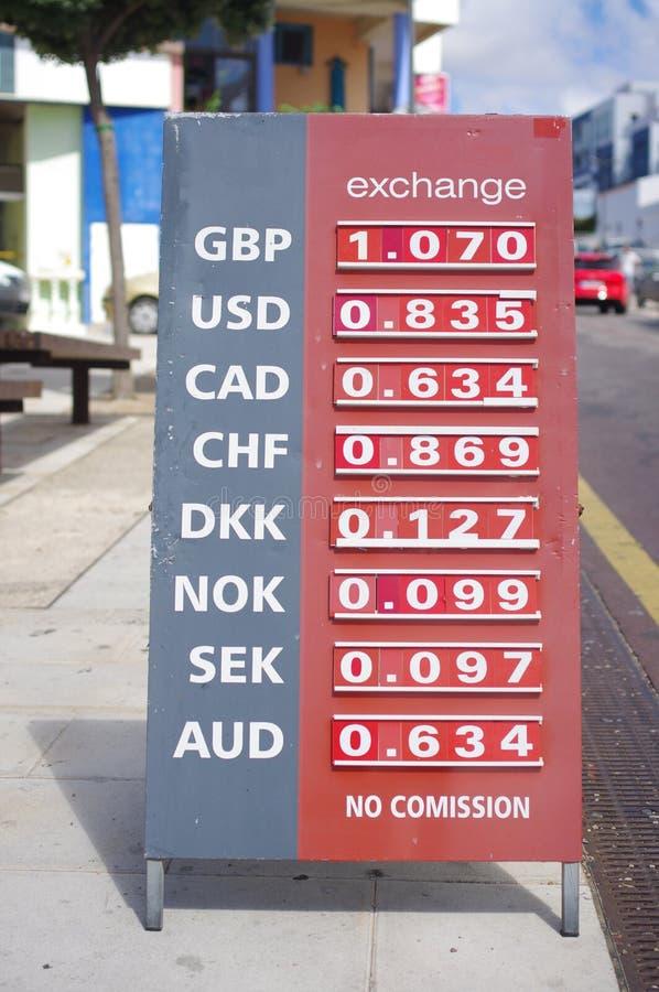Tipos de cambio para el euro foto de archivo libre de regalías
