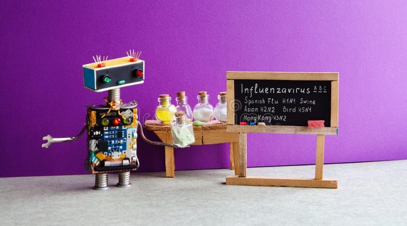 Tipos de cartel de los virus de gripe Cuide las drogas antivirus tubo, manuscrito infographic del robot de las variaciones de la  fotografía de archivo libre de regalías