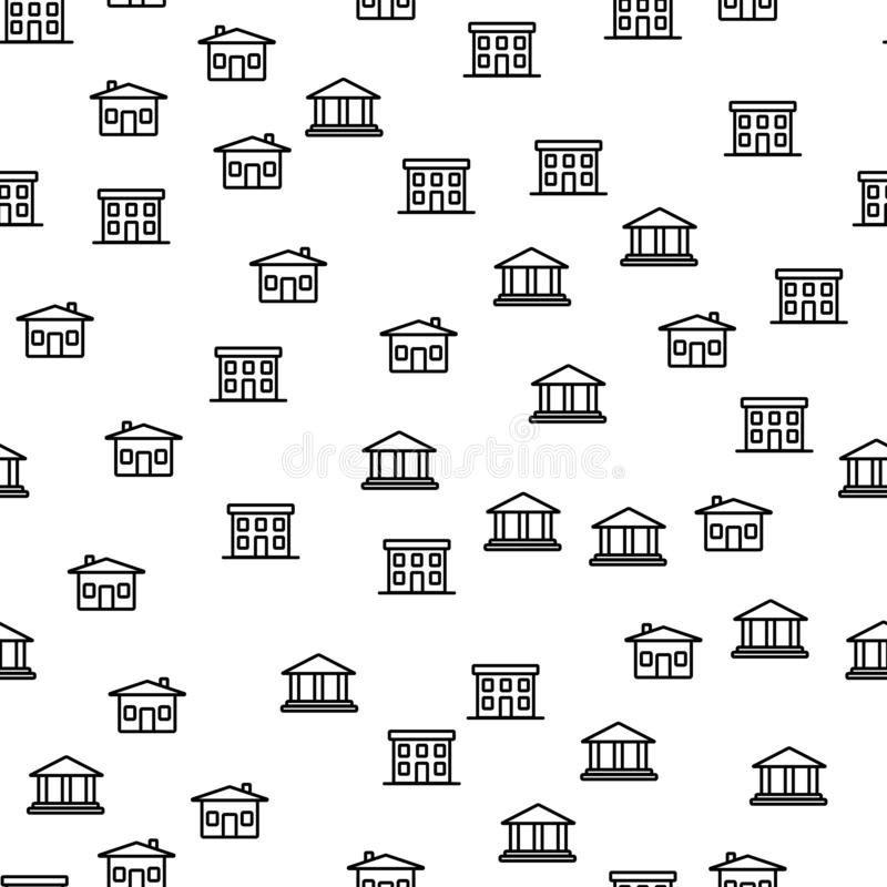 Tipos de cidade que constroem o vetor sem emenda do teste padrão ilustração royalty free