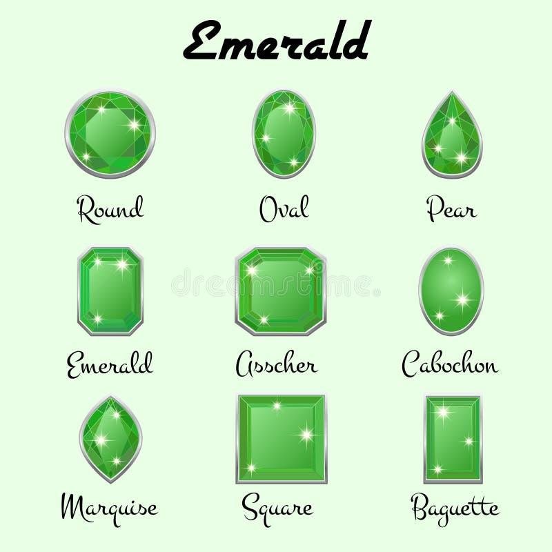 Tipos de cortes de la esmeralda ilustración del vector
