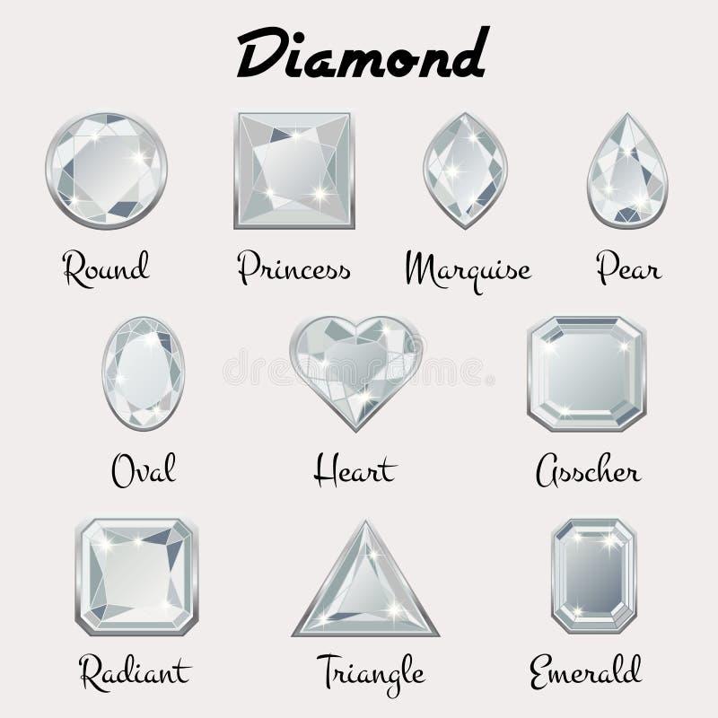 Tipos de cortes do diamante ilustração stock