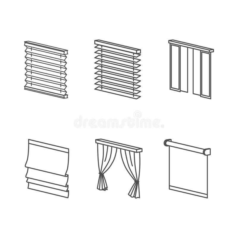 Tipos de cortinas ilustracin del vector Ilustracin de marco