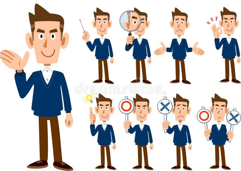 9 tipos de cuerpo entero masculino del _determinado de la expresión y de la actitud stock de ilustración