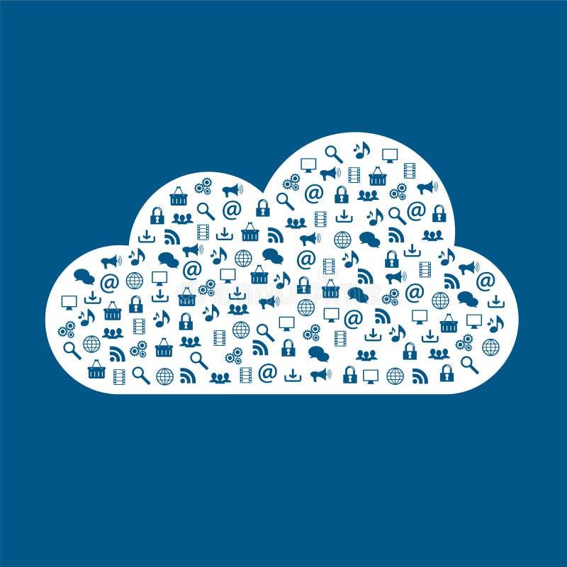 Tipos de datos computacionales del almacenamiento de la nube diversos ilustración del vector
