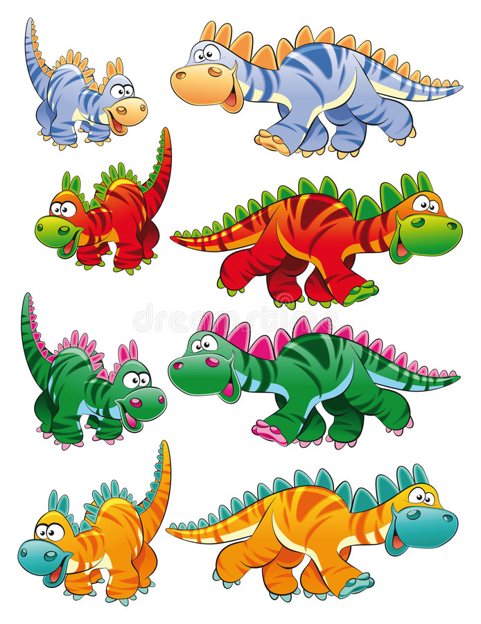 Tipos de dinosaurios stock de ilustración