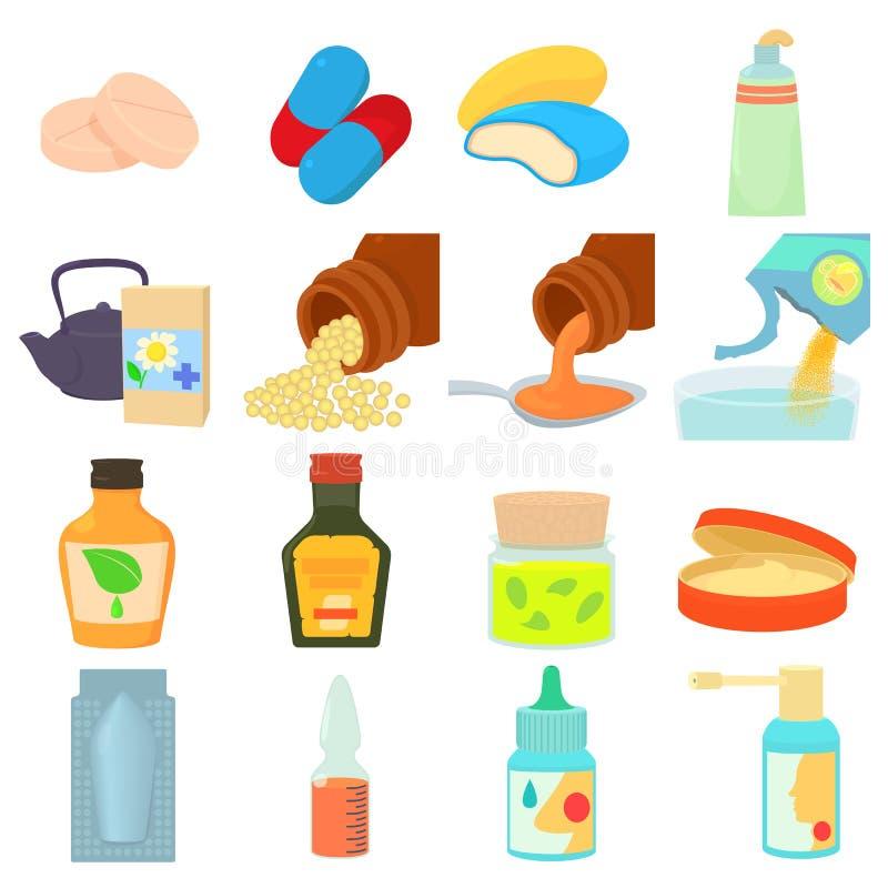 Tipos de droga ícones ajustados, estilo dos desenhos animados ilustração stock