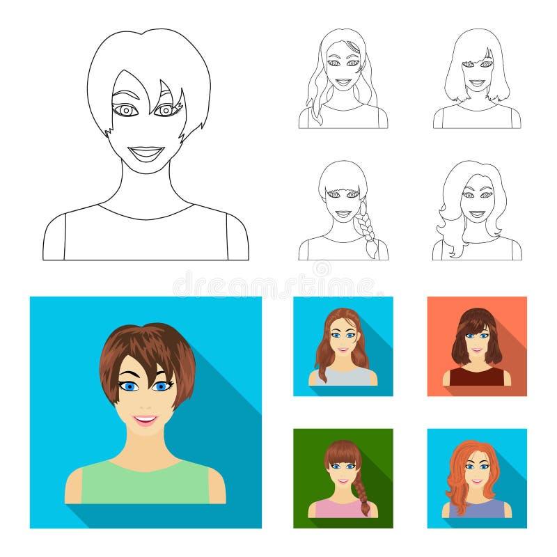 Tipos de esquema femenino de los peinados, iconos planos en la colección del sistema para el diseño Aspecto de una acción del sím stock de ilustración