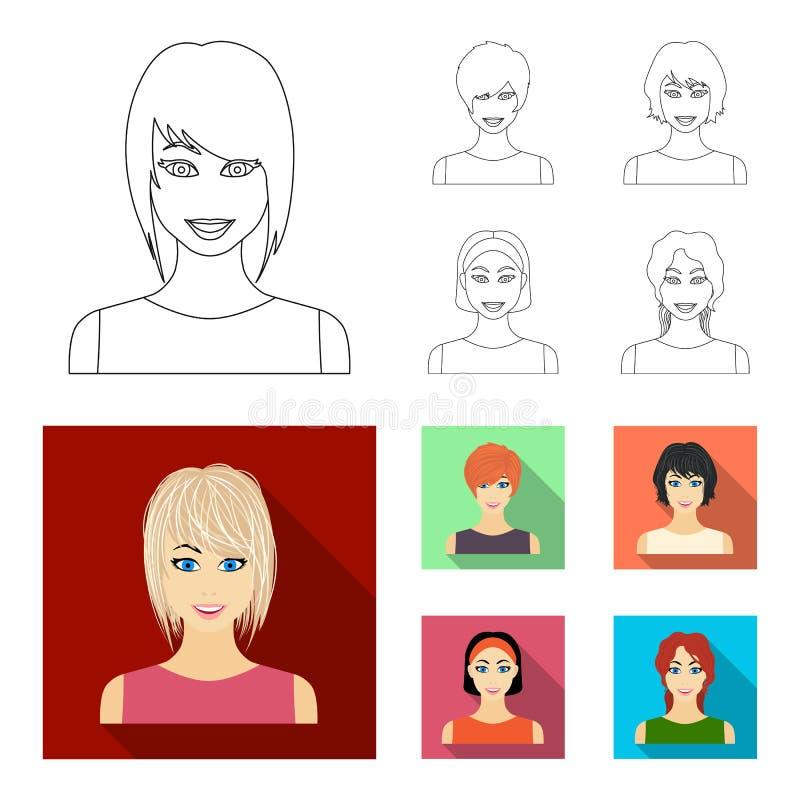 Tipos de esquema femenino de los peinados, iconos planos en la colección del sistema para el diseño Aspecto de una acción del sím libre illustration
