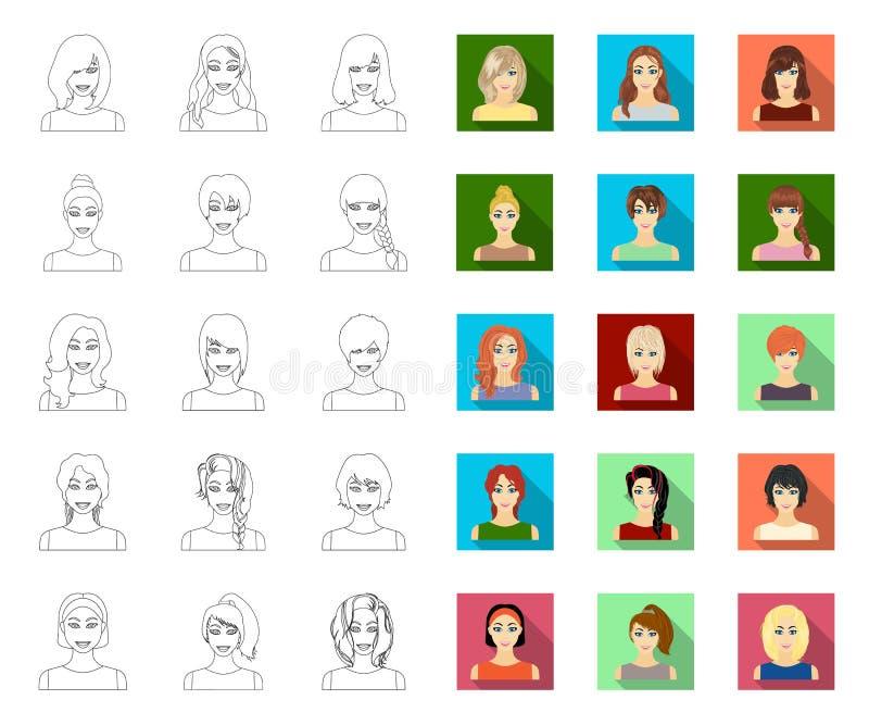 Tipos de esquema femenino de los peinados, iconos planos en la colecci?n del sistema para el dise?o Aspecto de una acci?n del s?m ilustración del vector