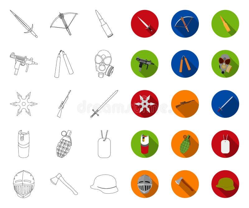 Tipos de esquema de las armas, iconos planos en la colección determinada para el diseño Las armas de fuego y las armas aplanadas  stock de ilustración