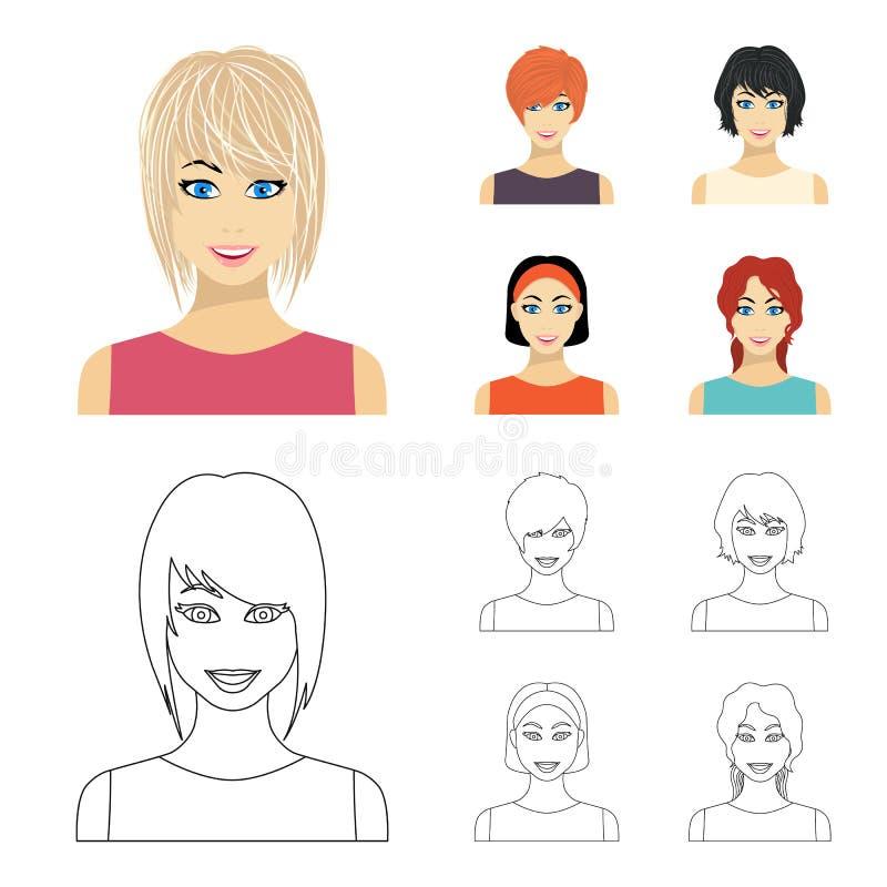 Tipos de historieta femenina de los peinados, iconos del esquema en la colección del sistema para el diseño Aspecto de una acción libre illustration