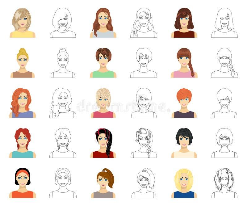 Tipos de historieta femenina de los peinados, iconos del esquema en la colección del sistema para el diseño Aspecto de una acción stock de ilustración