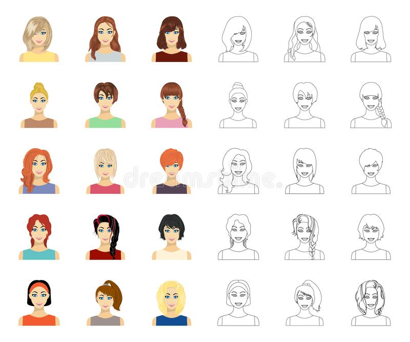 Tipos de historieta femenina de los peinados, iconos del esquema en la colecci?n del sistema para el dise?o Aspecto de una acci?n ilustración del vector