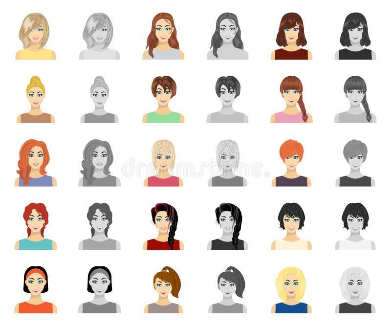 Tipos de historieta femenina de los peinados, iconos del monochrom en la colección determinada para el diseño Aspecto de un símbo libre illustration