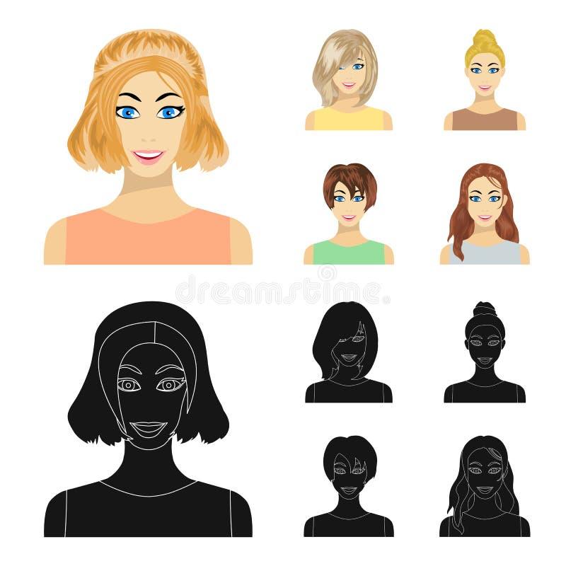 Tipos de historieta femenina de los peinados, iconos negros en la colección del sistema para el diseño Aspecto de una acción del  ilustración del vector