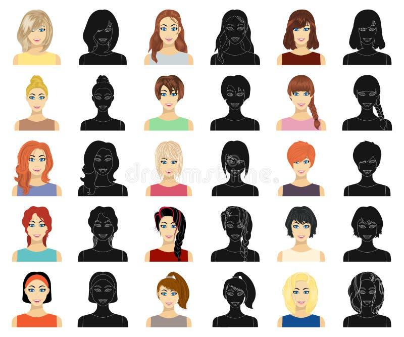 Tipos de historieta femenina de los peinados, iconos negros en la colección del sistema para el diseño Aspecto de una acción del  libre illustration